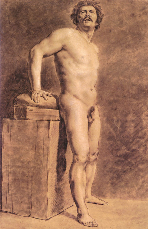 Male Academy Figure by Eugène Delacroix Reproduction Painting by Blue Surf Art