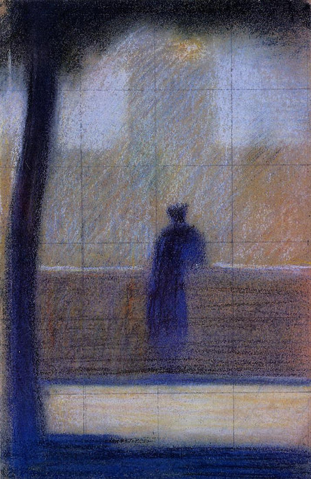 Man leaning on a parapet by Georges Seurat Reproduction Painting by Blue Surf Art