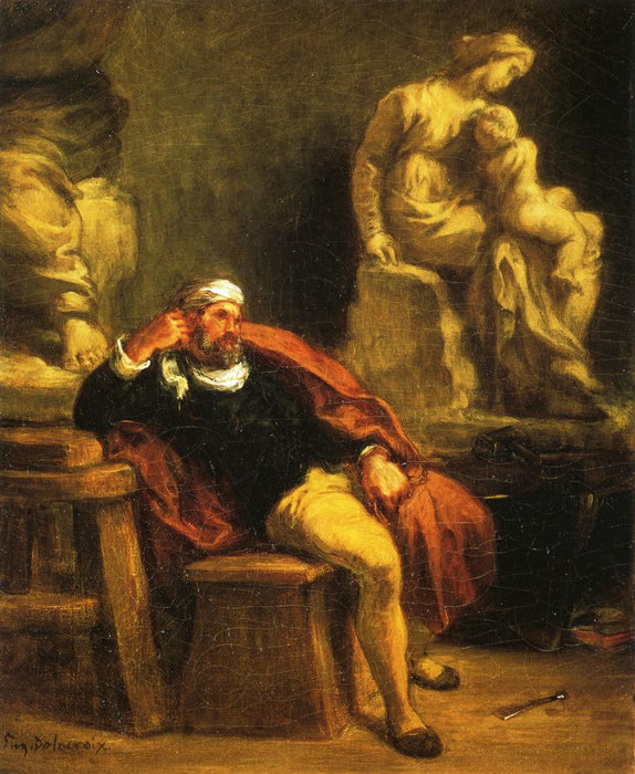 Michelangelo in his Studio by Eugène Delacroix Reproduction Painting by Blue Surf Art