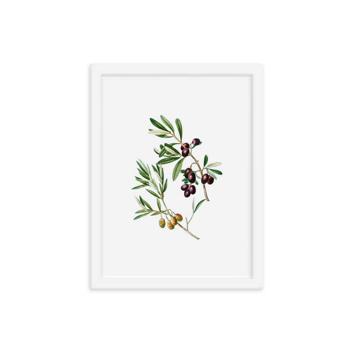 Framed Poster Green Olives with Leaves