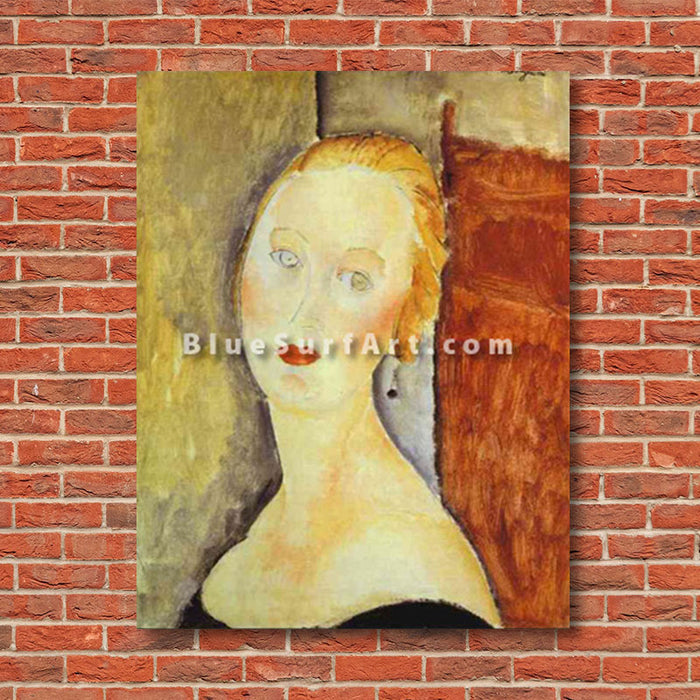 """A Blond Woman. (Portrait of Germaine Survage)"" by Amedeo Modigliani reproduction in oil painting on canvas - red bricks showcase"