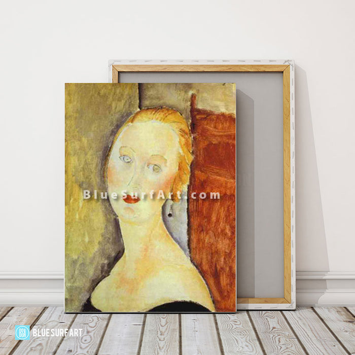 """A Blond Woman. (Portrait of Germaine Survage)"" by Amedeo Modigliani reproduction in oil painting on canvas - product showcase"