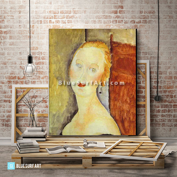 """A Blond Woman. (Portrait of Germaine Survage)"" by Amedeo Modigliani reproduction in oil painting on canvas - loft studio"