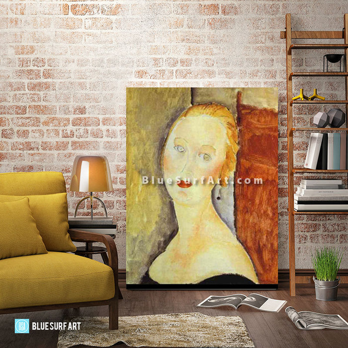 """A Blond Woman. (Portrait of Germaine Survage)"" by Amedeo Modigliani reproduction in oil painting on canvas - living room"