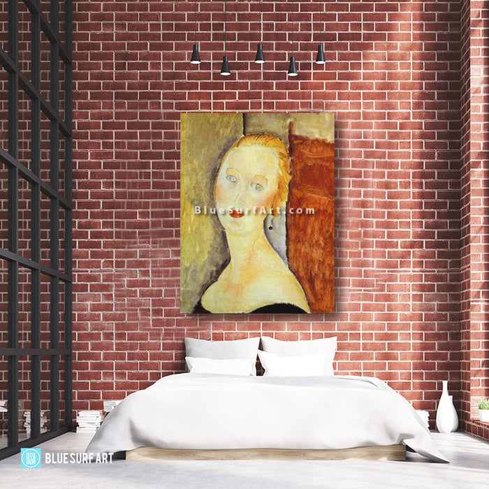 """A Blond Woman. (Portrait of Germaine Survage)"" by Amedeo Modigliani reproduction in oil painting on canvas - loft bedroom high ceiling"