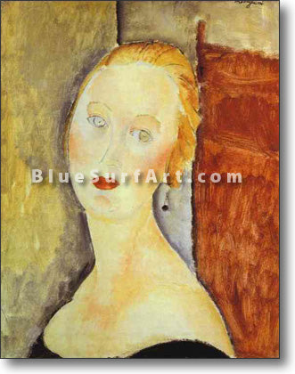 """A Blond Woman. (Portrait of Germaine Survage)"" by Amedeo Modigliani reproduction in oil painting on canvas"