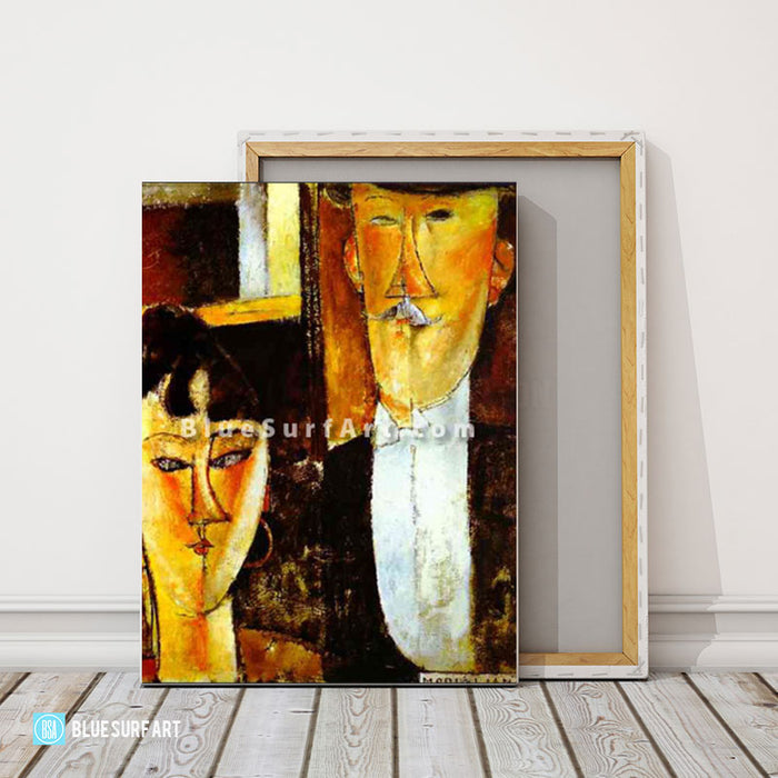 Bride and Groom by Amedeo Modigliani Reproduction 100% Hand Painting- 2