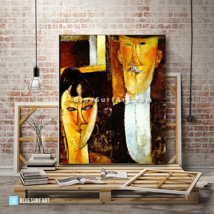 Bride and Groom by Amedeo Modigliani Reproduction 100% Hand Painting- 3