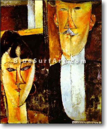 Bride and Groom by Amedeo Modigliani Reproduction 100% Hand Painting