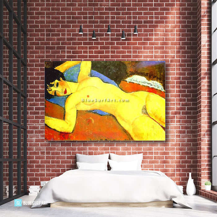 """Sleeping Nude with Arms Open (Red Nude)"" by Amedeo Modigliani reproduce in oil painting on canvas - loft bedroom showcase"