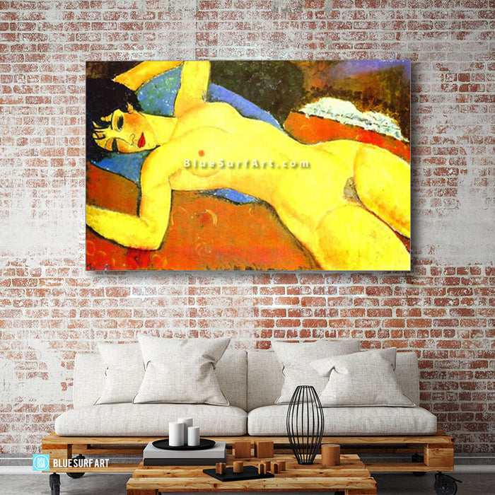 """Sleeping Nude with Arms Open (Red Nude)"" by Amedeo Modigliani reproduce in oil painting on canvas - livign room"