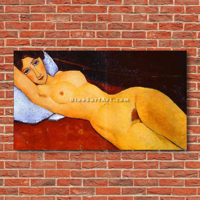 """Reclining Nude"" by Amedeo Modigliani oil painting on canvas reproduction - red bricks wall"