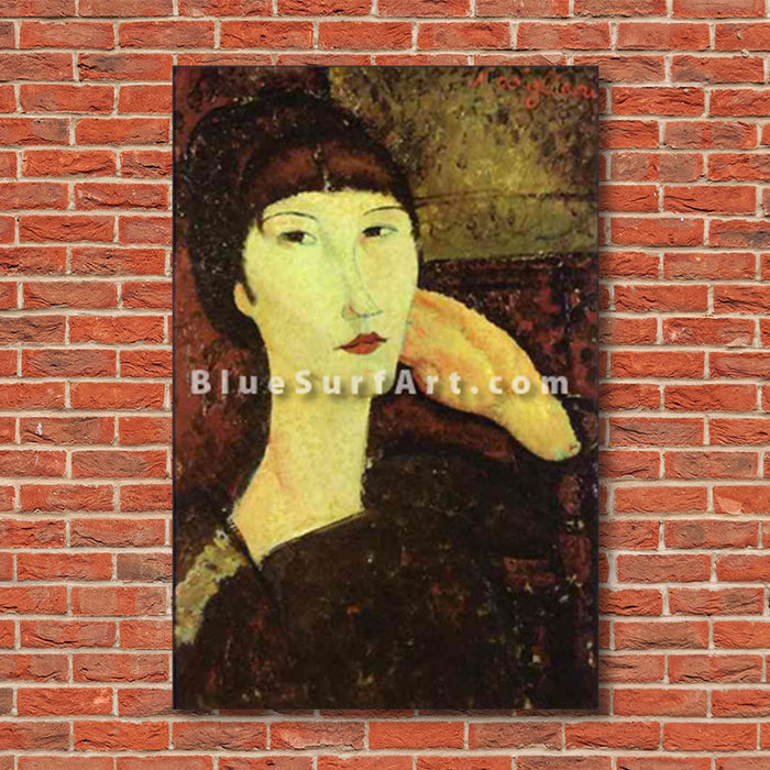 """Adrienne (Woman with Bangs)"" by Amedeo Modigliani reproduction, in oil painting on canvas - show case"