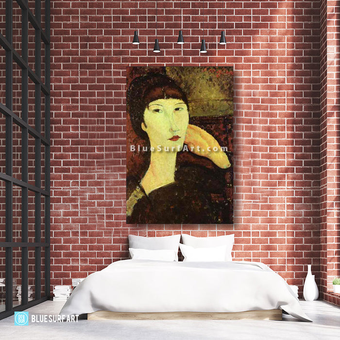 """Adrienne (Woman with Bangs)"" by Amedeo Modigliani reproduction, in oil painting on canvas - bedroom loft high ceiling"