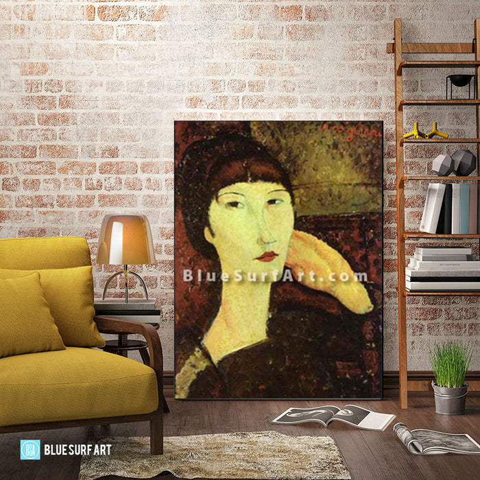 """Adrienne (Woman with Bangs)"" by Amedeo Modigliani reproduction, in oil painting on canvas - living room"