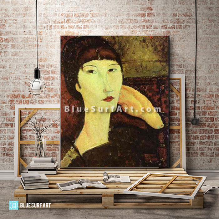 """Adrienne (Woman with Bangs)"" by Amedeo Modigliani reproduction, in oil painting on canvas - loft studio"