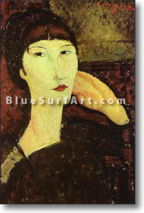 """Adrienne (Woman with Bangs)"" by Amedeo Modigliani reproduction, in oil painting on canvas"