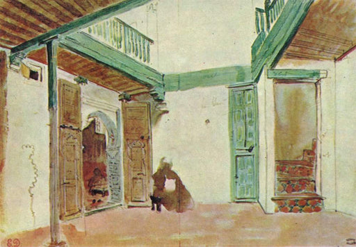 Moroccan courtyard by Eugène Delacroix Reproduction Painting by Blue Surf Art