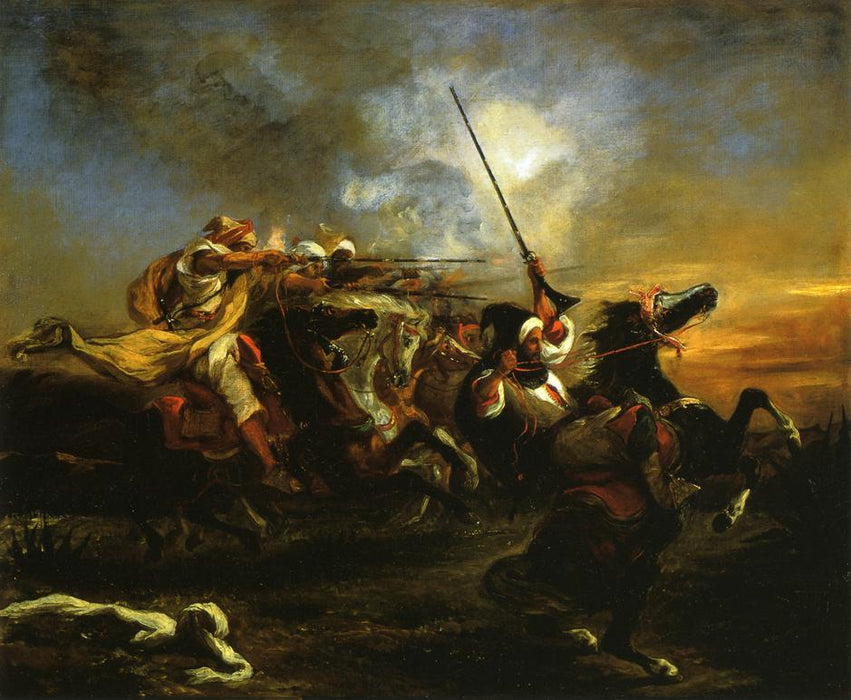 Moroccan horsemen in military action by Eugène Delacroix Reproduction Painting by Blue Surf Art