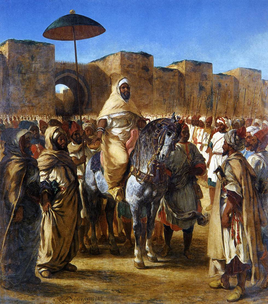 Muley Abd-ar-Rhaman, The Sultan of Morocco, leaving his Palace of Meknes with his entourage by Eugène Delacroix Reproduction Painting by Blue Surf Art