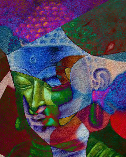 Multi Colour Buddha Art in Abstract Style