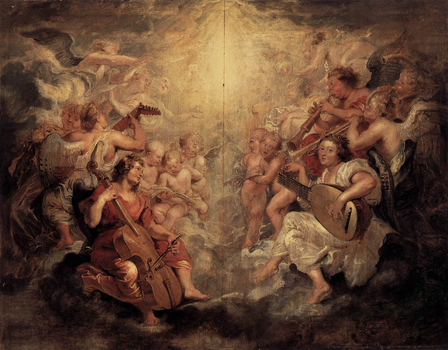 Music Making Angels by Peter Paul Rubens Reproduction Oil Painting on Canvas