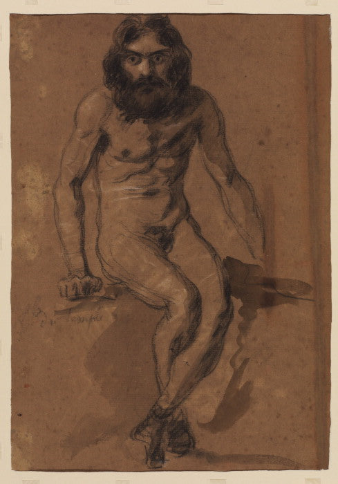 Nude bearded man, seated by Eugène Delacroix Reproduction Painting by Blue Surf Art