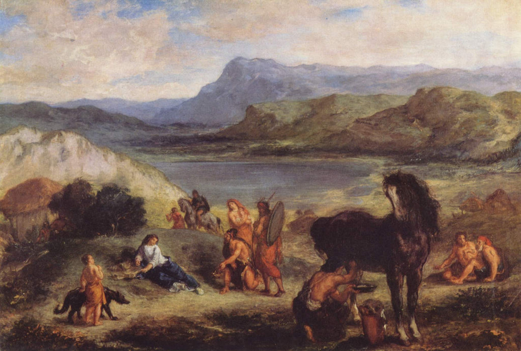 Ovid among the Scythians by Eugène Delacroix Reproduction Painting by Blue Surf Art