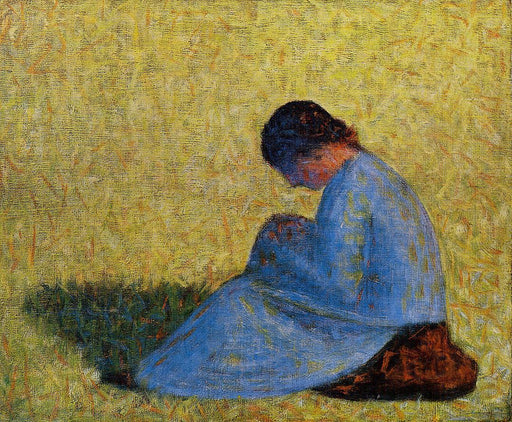 Peasant Woman Seated in the Grass by Georges Seurat Reproduction Painting by Blue Surf Art