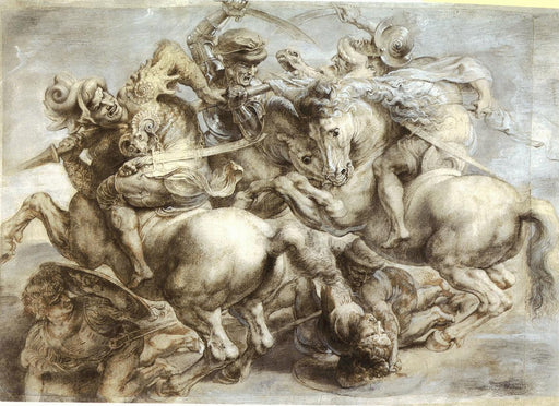 Copy of Battle of Anghiari, the lost painting by Leonardo da Vinci by Peter Paul Rubens Reproduction Oil Painting on Canvas