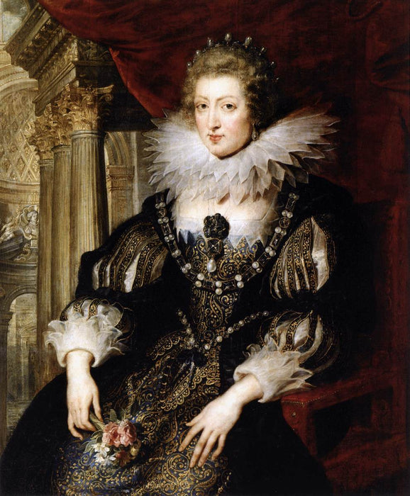 Portrait of Anne of Austria by Genii by Peter Paul Rubens Reproduction Oil Painting on Canvas