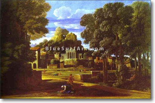 Landscape with the Cinders of Phocion by Nicolas Poussin. Reproduction by Blue Surf Art