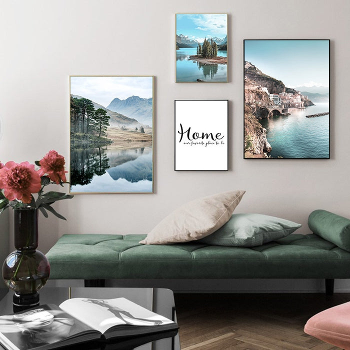 Scandinavian Nordic Coastline Canvas Art Print - Wall Decor, Home decor