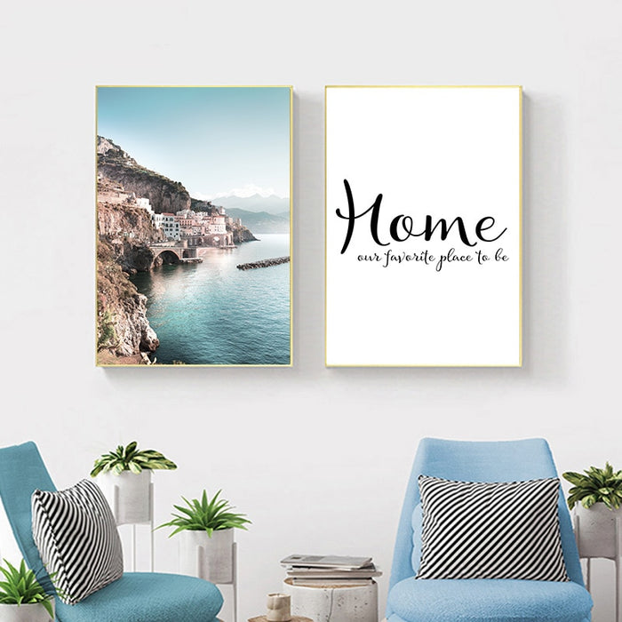 Scandinavian Nordic Coastline Canvas Art Print - Wall Decor, Home decor - Two Set