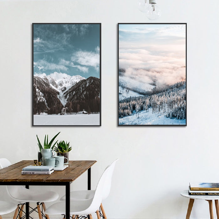 Winter at Nordic Canvas Art Print, Wall Art, Home Decor - Showcase 3 with black frame