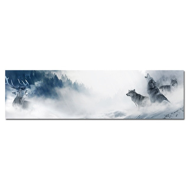 Wolf Pack on Snow Mountain Canvas Art Painting