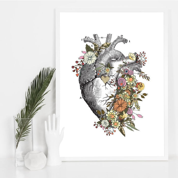 Vintage Anatomy Floral Heart Canvas Art Print - Showcase