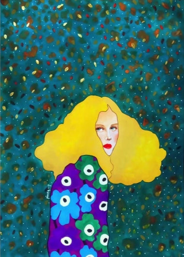 Pop Lady - Jewel print on canvas. painting decoration. wall art