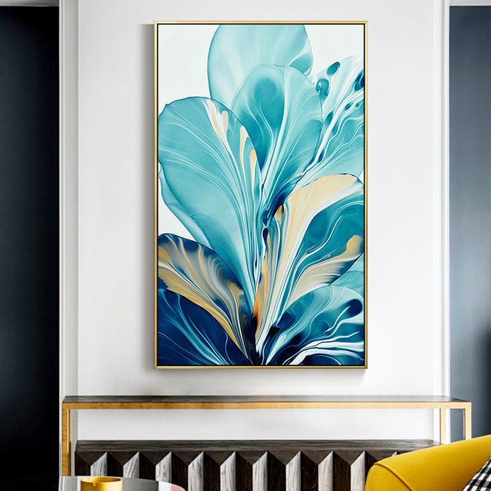 Turquoise Flowers Art Print on Canvas, abstract art print, home decor, painting decor,
