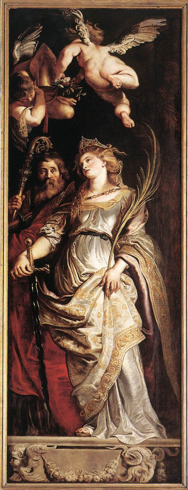 Raising of the Cross - Sts Eligius and Catherine by Peter Paul Rubens Reproduction Oil Painting on Canvas