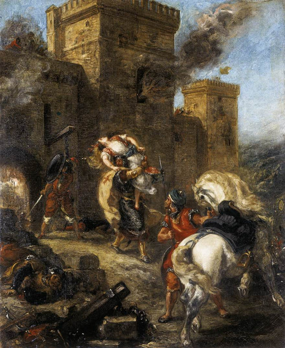 Rebecca Kidnapped by the Templar, Sir Brian de Bois-Guilbert by Eugène Delacroix Reproduction Painting by Blue Surf Art