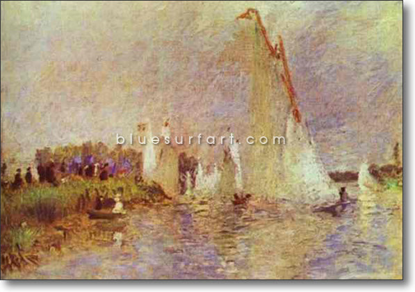Sailboats at Argenteuil by Pierre-Auguste Renoir Reproduction Oil Painting on Canvas I Blue Surf Art