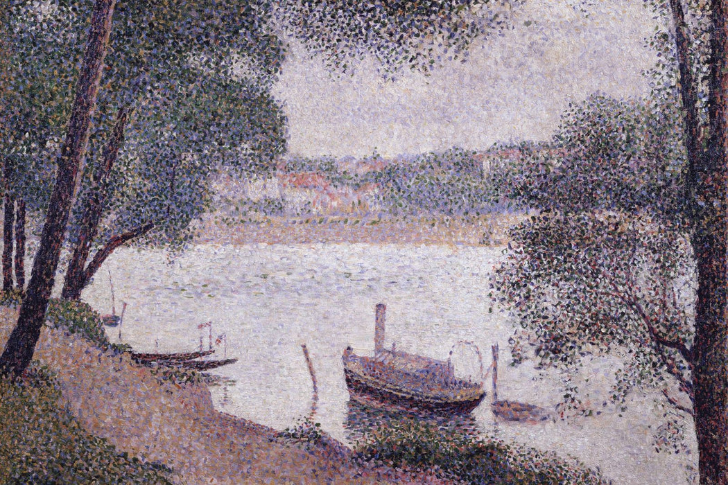 River Landscape with a boat by Georges Seurat Reproduction Painting by Blue Surf Art