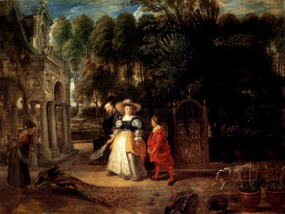 Rubens and Helene Fourment in the Garden by Peter Paul Rubens Reproduction Oil Painting on Canvas