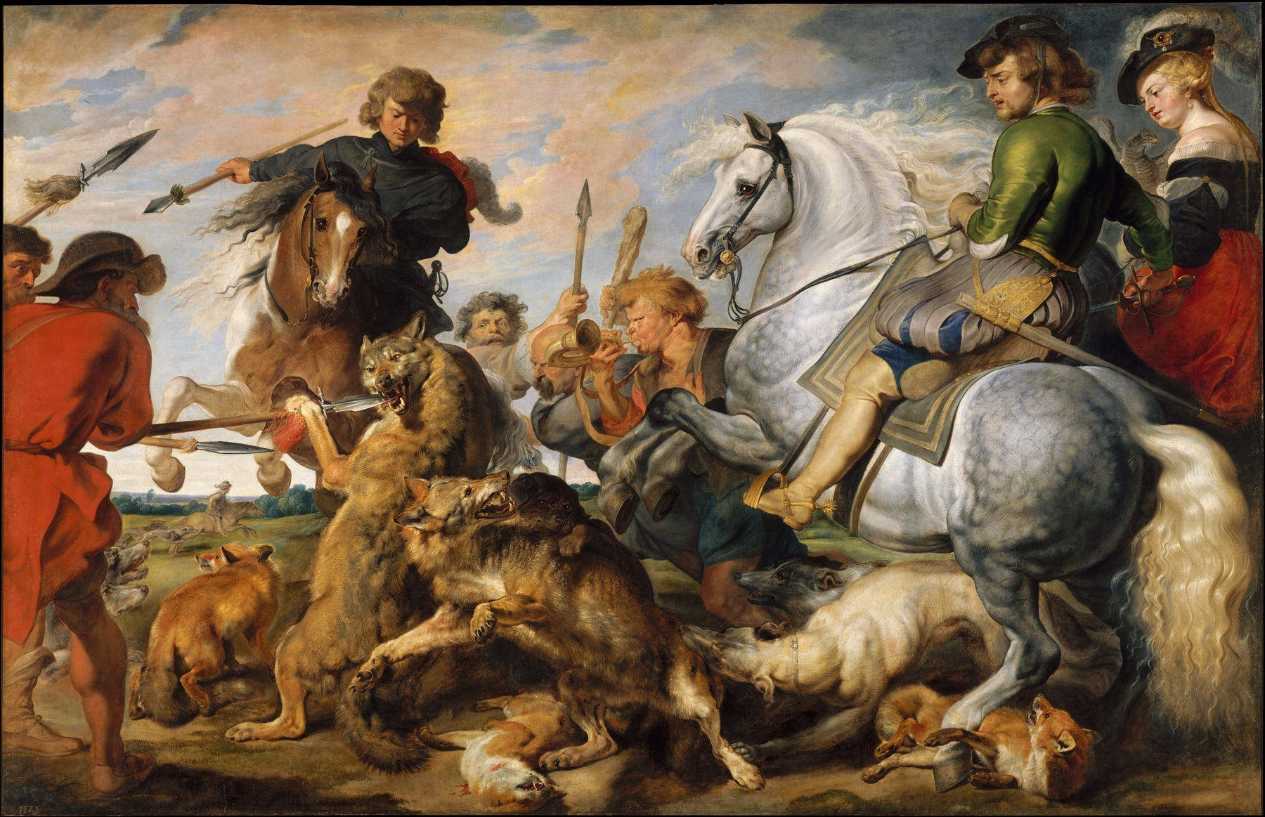 Wolf and Fox Hunt by Peter Paul Rubens Reproduction Oil Painting on Canvas