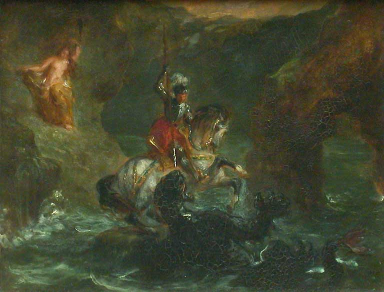 Saint George Fighting the Dragon, Perseus Delivering Andromeda by Eugène Delacroix Reproduction Painting by Blue Surf Art