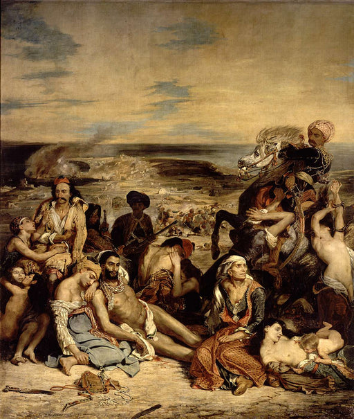 Scenes from the Massacre of Chios by Eugène Delacroix Reproduction Painting by Blue Surf Art