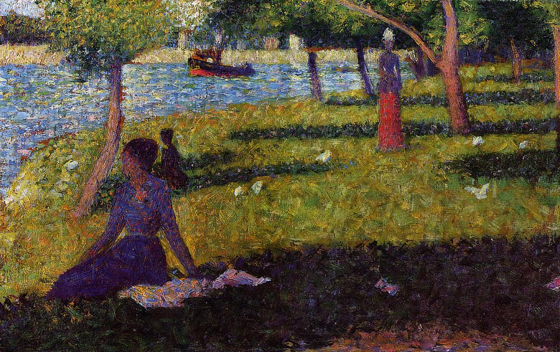 Seated and Standing Woman by Georges Seurat Reproduction Painting by Blue Surf Art