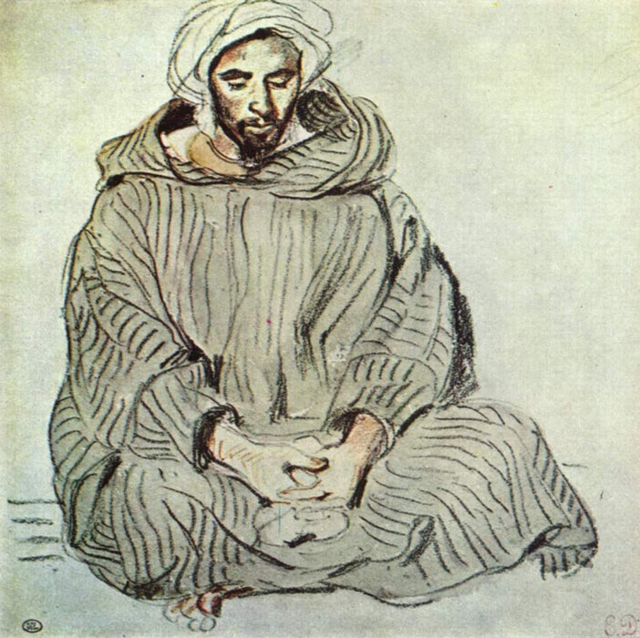 Seated Arab in Tanger by Eugène Delacroix Reproduction Painting by Blue Surf Art