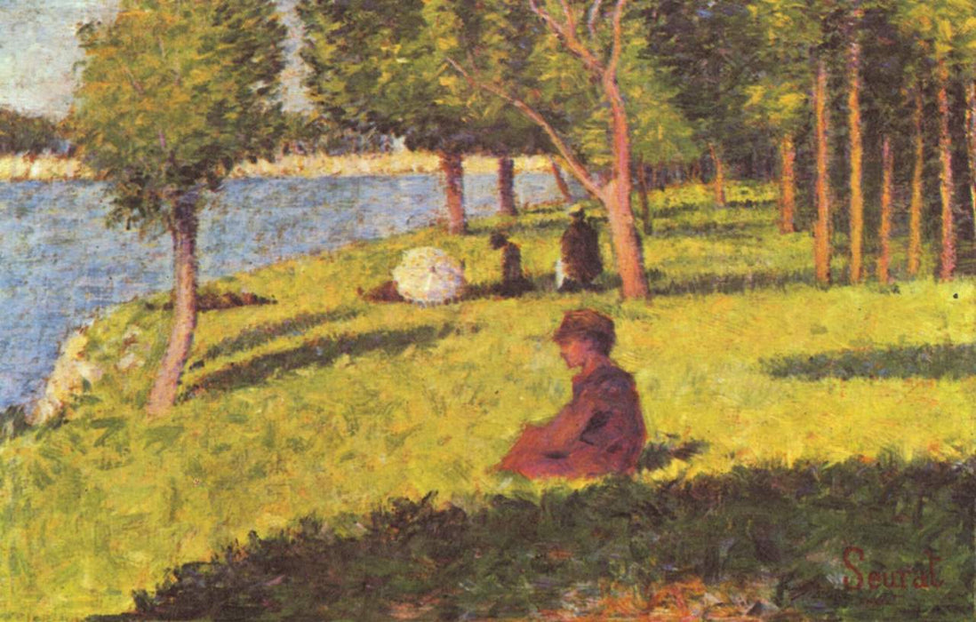 Seated figures by Georges Seurat Reproduction Painting by Blue Surf Art